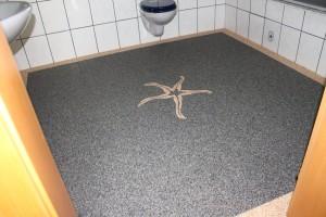 Steinteppich mit Umrandung und Seestern Korn 4-6mm  Porenverschluss